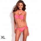 RELLECIGA 033131010-200XL Stylish Bandeau w/ Rhinestone Cheeky Bikini Set - Pink (XL)