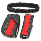 Fashionable Gear + Parking Brake + Rearview Mirror Decorative Dacron Set for Car - Black + Red