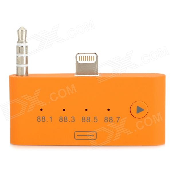 8-Pin Lightning + 3.5mm Plug to 30-Pin Female FM Audio Adapter for iPhone 5 / iPod Touch 5 - Orange