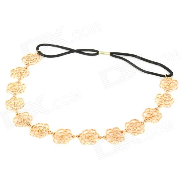 FS050811 Retro Flower Style Alloy Decorative Hair Band w  Elastic Tie -  Golden + Black - Free shipping - DealExtreme cacabb59548