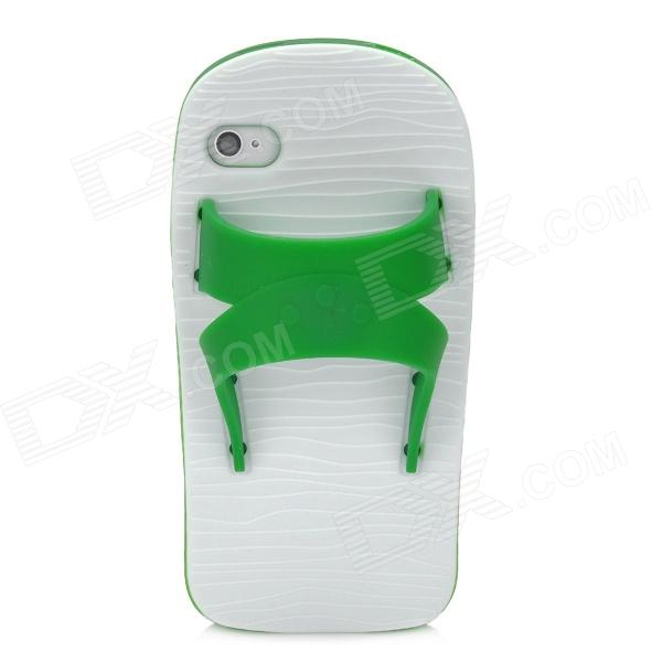 Funny Slipper Style Protective Silicone Back Case for Iphone 4S / 4 - Green + White cool skull head style protective soft silicone back case for iphone 4 4s pink