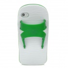 Funny Slipper Style Protective Silicone Back Case for Iphone 4S / 4 - Green + White