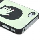 Relief Kissing Couple Style Glow-in-the-Dark Protective Plastic Back Case for Iphone 4 - Black