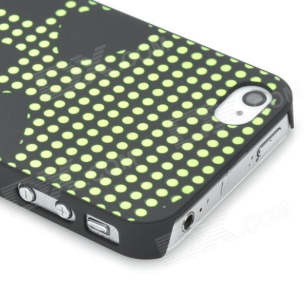 Relief Polka Dot Skull Style Glow-in-the-Dark Protective Plastic Back Case for Iphone 4 - Black cawanerl for daihatsu mira move sirion sonica car hood trunk door rubber sealing strip kit seal edge trim weatherstrip