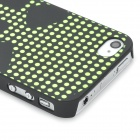 Relief Polka Dot Skull Style Glow-in-the-Dark Protective Plastic Back Case for Iphone 4 - Black