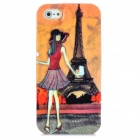 Girl Stainding in Front of Eiffel Tower Pattern Protective Plastic Back Case for iPhone 5 - Yellow