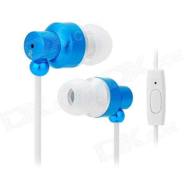 JUNEROSE JR-i710 In-Ear Stereo Earphone w/ Microphone for Iphone / Samsung / HTC - Blue + White omasen om78 stylish stereo earphone w microphone for iphone ipod htc samsung white 3 5mm
