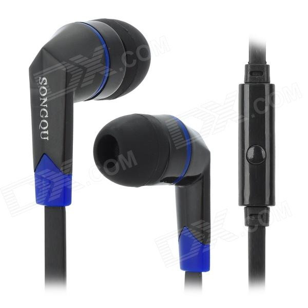 SQ-IP2015 Universal In-Ear Earphone w/ Microphone for Iphone / Cell Phone / MP3 - Black + Blue awei stylish in ear earphone with microphone for iphone ipad more black 3 5mm plug