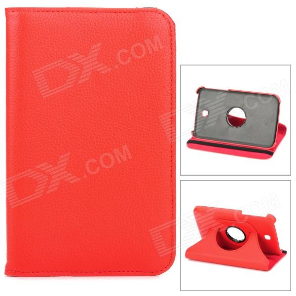 Lychee Pattern 360 Degree Rotation PU Leather Case for Samsung Galaxy Tab 3 P3200 - Red protective 360 degree rotation holder pu leather case for samsung p6800 p6810 pink
