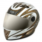 BEON B500 Cool Classic Safety Motorcycle Racing Helmet - White + Golden (Size L)