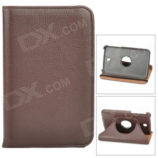 Lychee Pattern 360 Degree Rotation PU Leather Case for Samsung Galaxy Tab 3 P3200 - Dark Brown levett caesar prostate massager for 360 degree rotation g spot