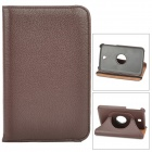 Lychee Pattern 360 Degree Rotation PU Leather Case for Samsung Galaxy Tab 3 P3200 - Dark Brown