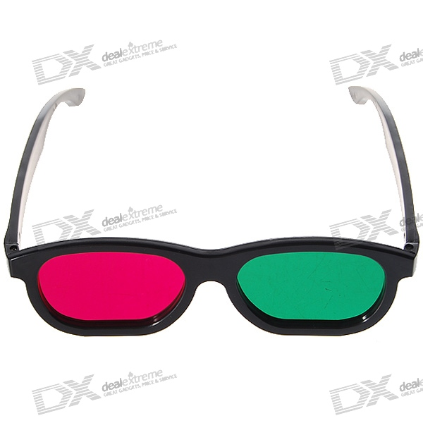 Re-useable Plastic Frame and Lens Anaglyphic Magenta + Green 3D Glasses