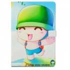 Cute Popois Cartoon Pattern Protective PU Leather Case for Ipad MINI - Green + Blue