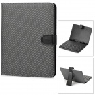 "Wired USB 80-Key Keyboad w/ Checked Style PU Leather Case / Stand for 8"" Tablet PCs - Black + White"