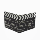Novelty Clapperboard Style Canvas Fabric Folding Wallet - Black + White