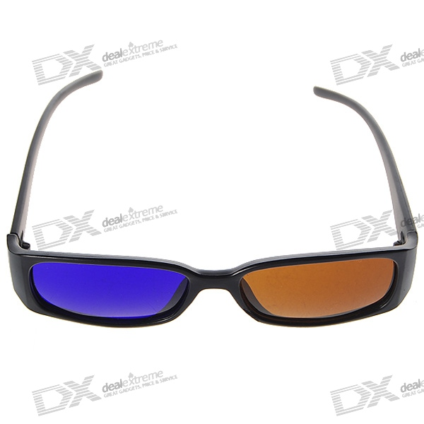 Re-useable Plastic Frame Resin Lens Anaglyphic Brown + Blue 3D Glasses