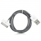 USB Male to Apple 30pin Male Date Sync & Charging Nylon Cable - White + Black (100cm)