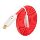 USB to 8-Pin Lightning Data/Charging Cable w/ Smiley Face Light for iPhone 5 / iPad 4 / Mini - Red