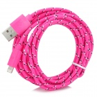 8pin Lightning Male to USB Male Data Sync & Charging Braided Cable - Pink + Black + White (300cm)