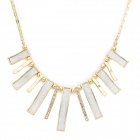 Strip Rhinestone Zinc Alloy Matt Choker Necklace - Golden + White