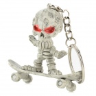 Key-ring w/ Stylish Skating Human Skeleton Pendant - Gray