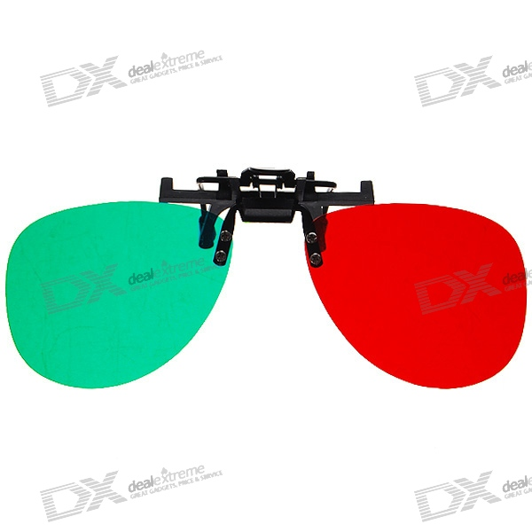 Re-useable Clip-On Resin Lens Anaglyphic Red + Green 3D Glasses