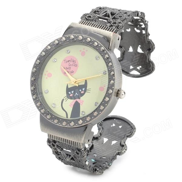 Retro Round Cute Cat Hollow-Out Analog Quartz Wrist Watch for Women - Bronze + Yellow cute love heart hollow out bracelet watch for women