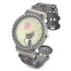 Retro Round Cute Cat Hollow-Out Analog Quartz Wrist Watch for Women - Bronze + Yellow