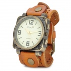 JINGYI Fashion Retro PU Band Women's Quartz Wrist Watch - Orange + Antique Brass (1 x LR626)