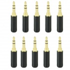 Gold Plated 3.5mm Stereo Soldering Plug - Black (10 PCS)