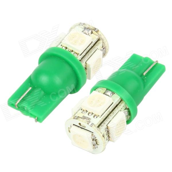 Merdia T10 5W 60lm 5-SMD 5050 Green Light Car Lamps (DC 12V / 2 PCS) carprie super drop ship new 2 x canbus error free white t10 5 smd 5050 w5w 194 16 interior led bulbs mar713