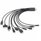 10-in-1 Multi-Function USB Charging Cable for iPhone + Samsung + More - Black (27.5 CM)