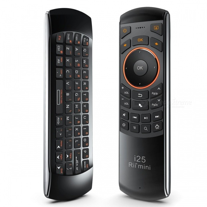 RII RT-MWK25 2.4GHz Wireless 44-Key Air Mouse / Keyboard / IR Remote Controller - Black