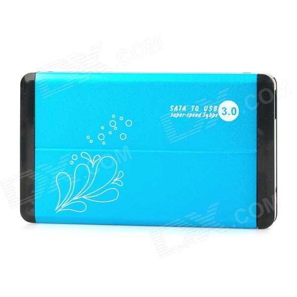 Portable Aluminum Alloy USB 3.0 2.5 SATA HDD Case - Cyan + Black hiinst black portable and durable waterproof portable carrying storage aluminum alloy case box for spark drop aug15