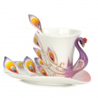 061701 Embossment Peafowl Style Enamel Porcelain Coffee Cup w/ Dish + Spoon Set - Purple + White