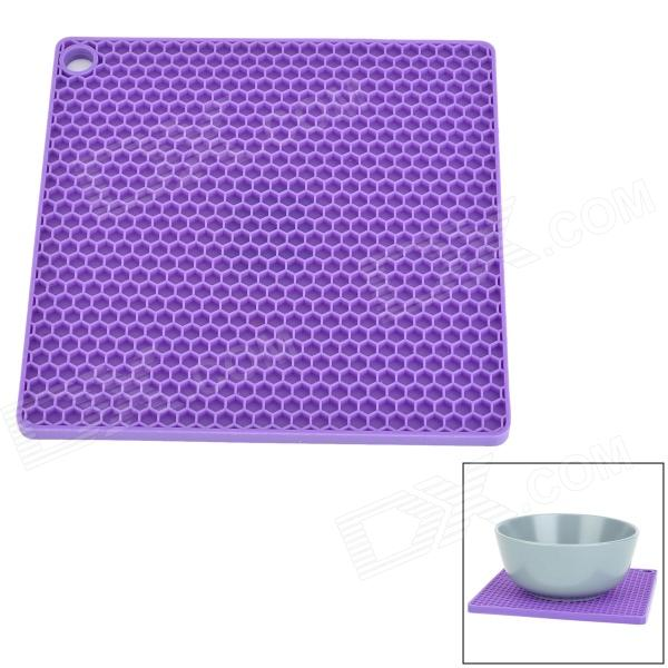 GEL0707 Square Style Silicone Anti-Slip Cup / Pot / Plate Insulated Pad - Purple creative lute style silicone anti slip pad yellow