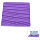 GEL0707 Square Style Silicone Anti-Slip Cup / Pot / Plate Insulated Pad - Purple