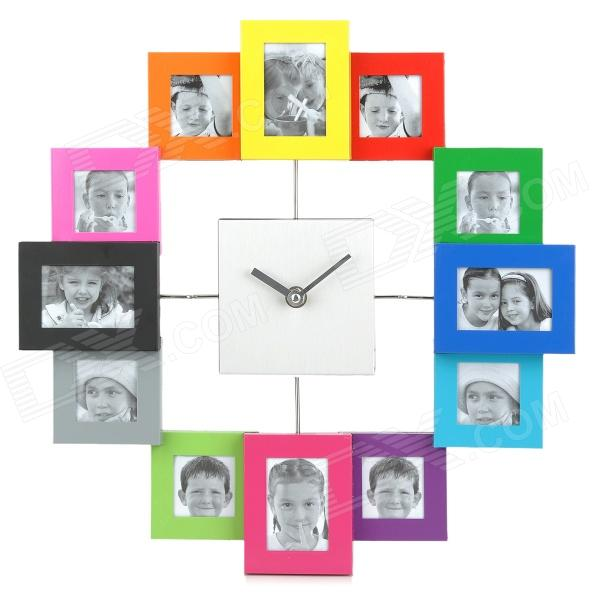 Stylish Aluminum Alloy Photo Frame Quiet Wall Clock - Multicolored (1 x AA) szblaze 6061 aluminum alloy tube clap long track ice speedskating blades frames 60hrc dislocation skate shoes knife 1 1mm frame