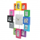 Stylish Aluminum Alloy Photo Frame Silencioso Relógio de parede - multicolorida (1 x AA)