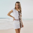 Cool Summer Fashion Dress w/ Matching Belt - White + Brown (Size L)