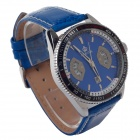 ORKINA P0028 Stylish Quartz Analog Men's Wrist Watch w/ Simple Calendar - Black + Blue (1 x LR626)