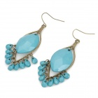 Bohemian Zinc Alloy Rhinestone Tassels Earrings - Blue (Pair)