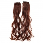 Fashionable Curly Clip On In Hair Extension Wig - Dark Brown (2 PCS)