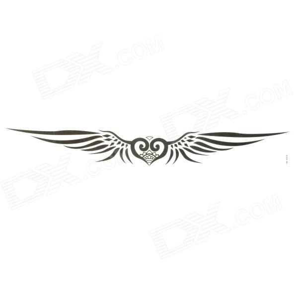 Stylish Heart w/ Wings Tattoo Sticker - Black