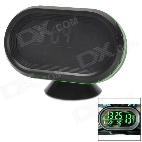 Multi-Functional Car 2.5 LCD Clock / Thermometer / Battery Voltmeter - Black + Green multi function green