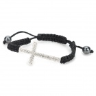 eQute BCTW1C2 Stylish Adjustable Shiny Christian Cross Braided Bracelet - Black + Silver