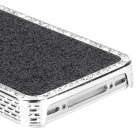 Shimmering Powder Protective ABS Plastic Case for Iphone 4 / 4S - Black + Silver