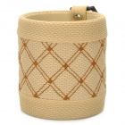 Twill Woven Pattern Mesh Fabric Car Hanging Holder w/ Clip for Cellphone / Cards + More - Beige