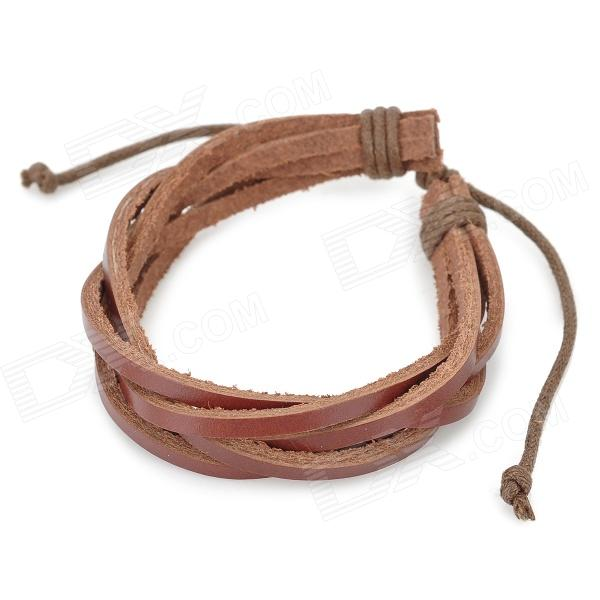 eQute BLEM24C9 Fashion Punk Style Cow Split Leather Braid Bracelet - Brown fashion cupid ornament split leather bracelet coffee brown multi color